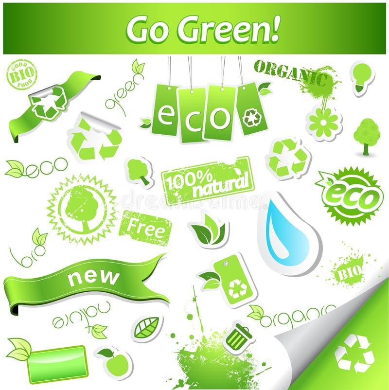 Grupo de ícones e de etiquetas verdes simples da ecologia do vetor ilustração do vetor