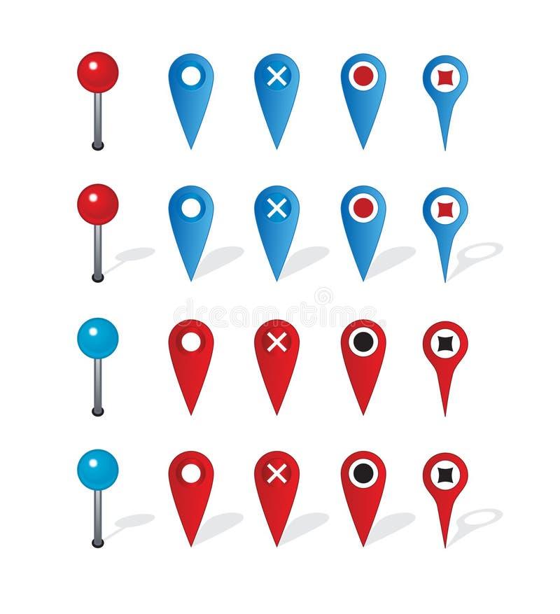 Grupo de ícones e de pino da navegação do mapa ilustração royalty free
