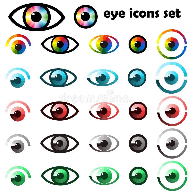 Grupo de ícones e de símbolos dos olhos ilustração royalty free