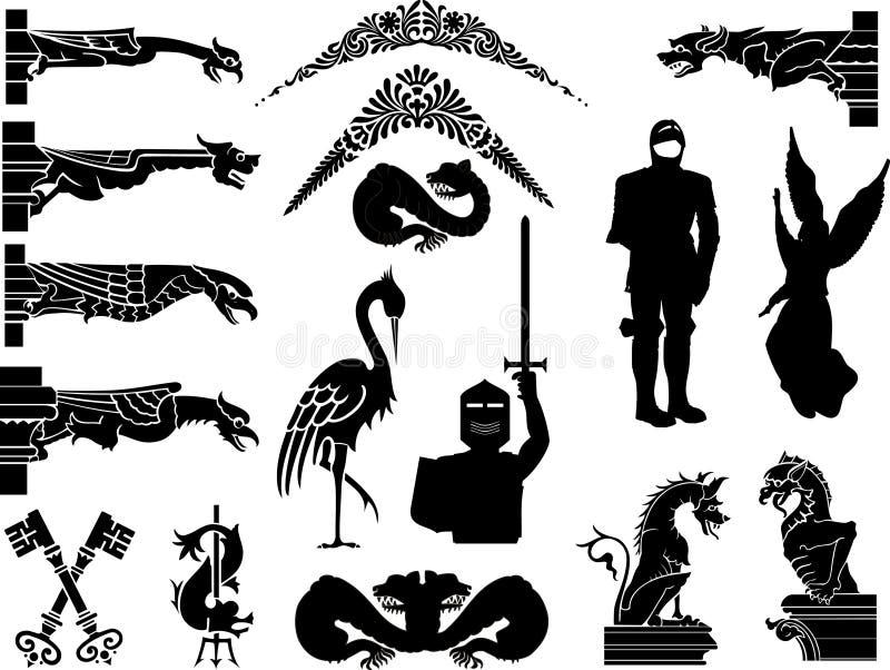 Grupo de ícones e de símbolos medievais do estilo antigo ilustração stock