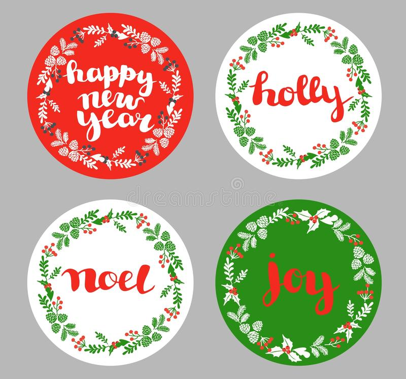 Grupo de ícones, de elementos e de ilustrações do Natal do inverno ilustração royalty free