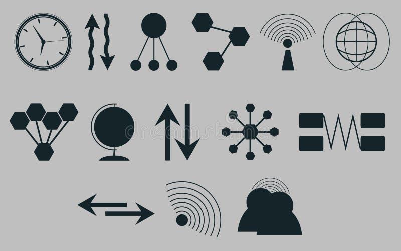 Grupo de ícones em comunicações de um tema Vetor ilustração stock