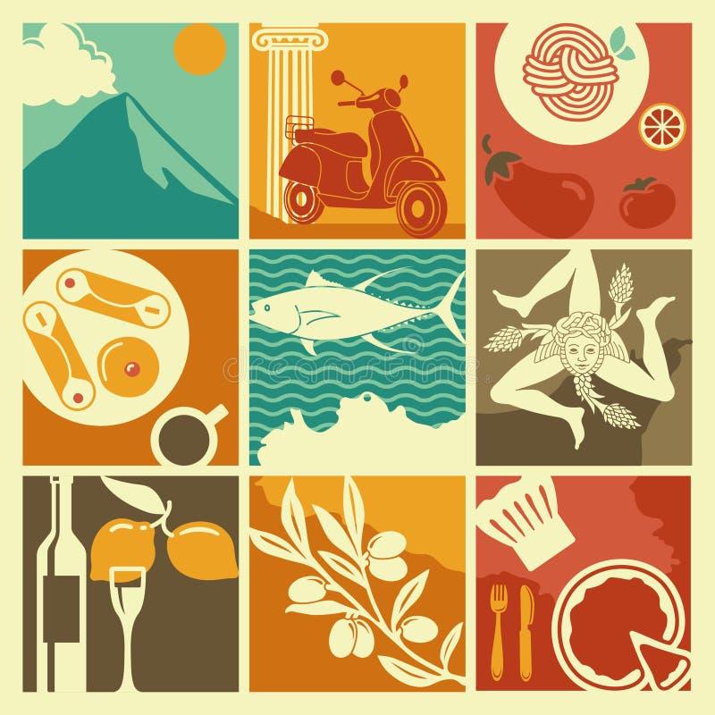 Grupo de ícones em um tema de Sicília ilustração stock