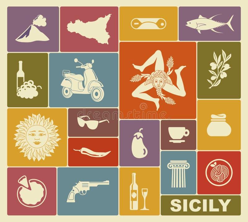 Grupo de ícones em um tema de Sicília ilustração do vetor