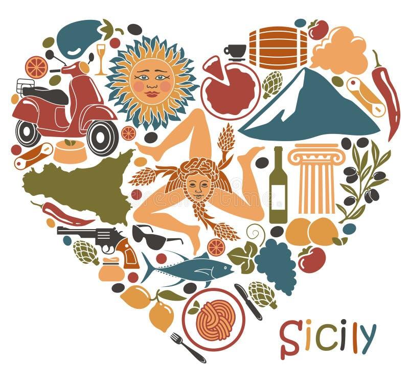 Grupo de ícones em um tema de Sicília sob a forma de um coração ilustração do vetor
