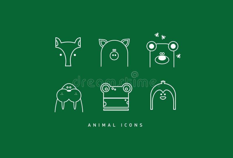 Grupo de ícones engraçados do animal do contorno ilustração do vetor