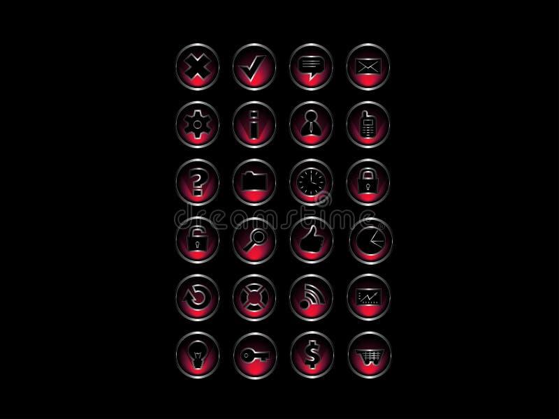 Grupo de ícones: Estilo vermelho & de prata ilustração do vetor