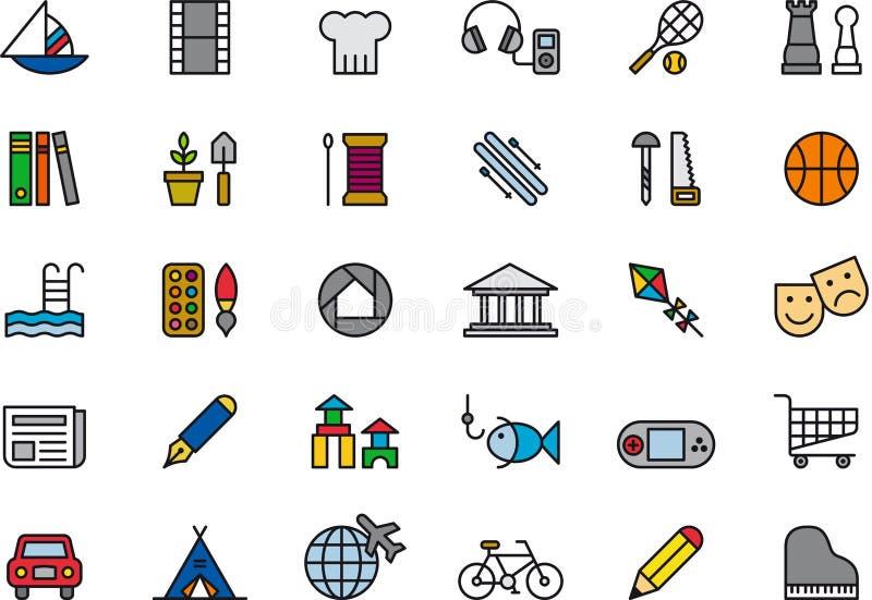 Grupo de ícones exteriores do lazer ilustração stock