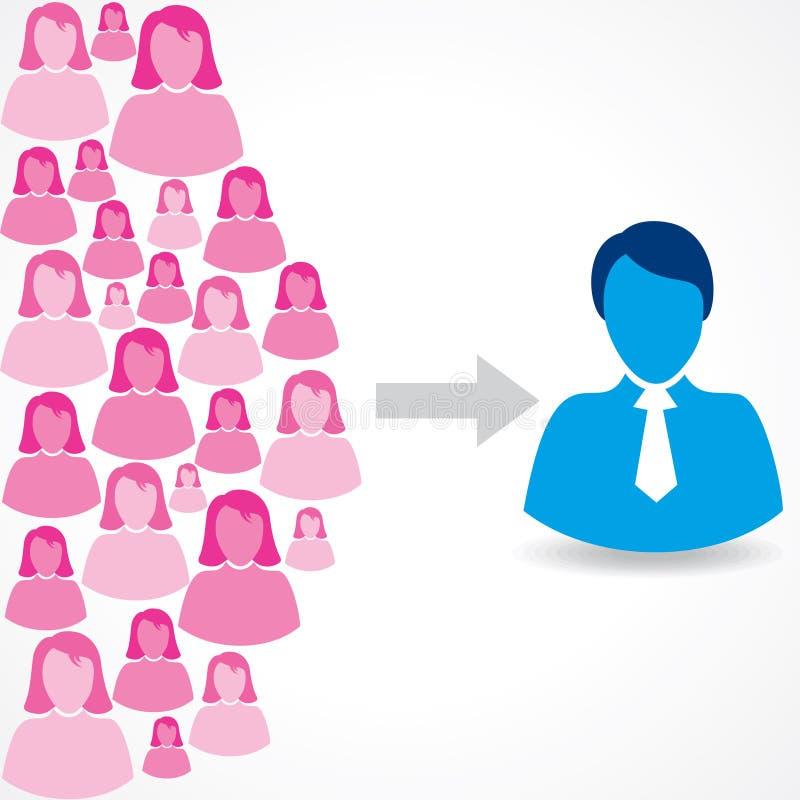 Grupo de ícones fêmeas e masculinos no fundo branco ilustração stock