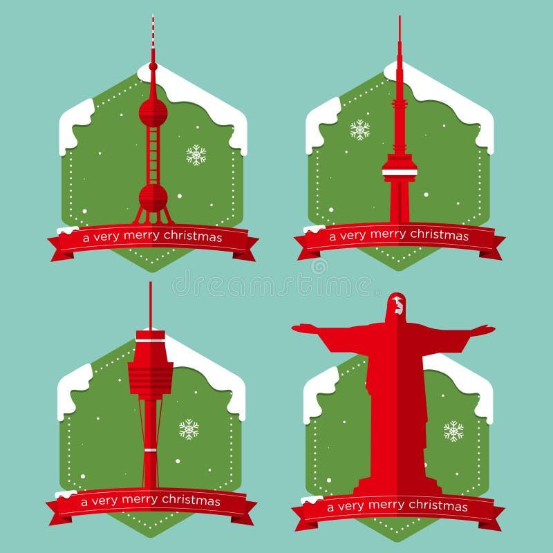 Grupo de ícones famosos das construções do marco do mundo com crachá do Natal no projeto liso ilustração do vetor