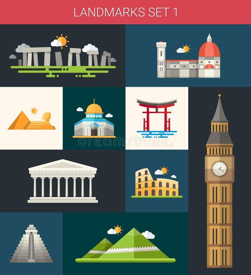 Grupo de ícones famosos dos marcos do mundo do projeto liso ilustração do vetor