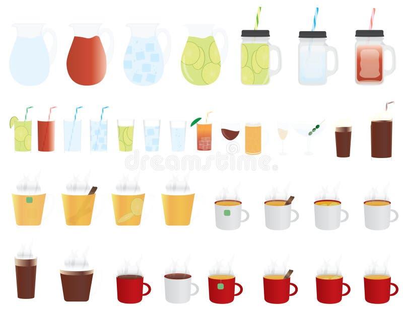 Grupo de ícones frios e quentes das bebidas ilustração stock
