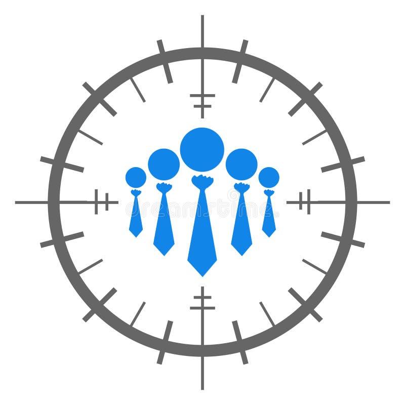 Grupo de ícones humanos dentro do sinal do alvo ilustração royalty free