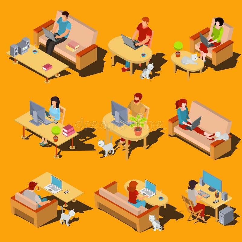 Grupo de ícones isométricos dos homens e das mulheres que trabalham em um computador e em um portátil em casa ilustração do vetor