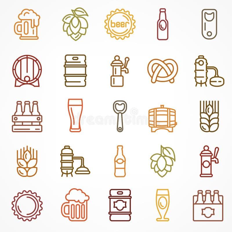 Grupo de ícones lineares da cerveja da cor ilustração do vetor