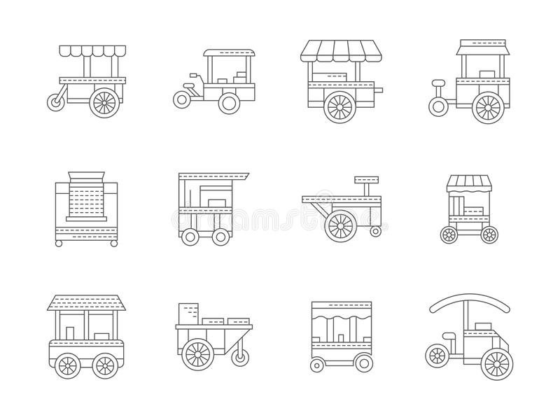 Grupo de ícones lineares do trole do alimento ilustração stock