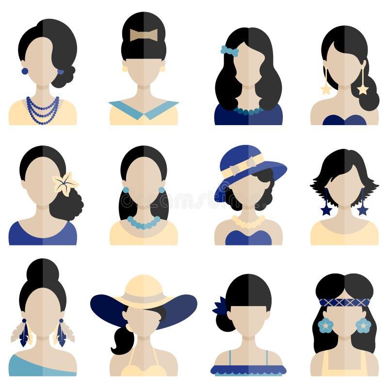 Grupo de ícones lisos com caráteres das mulheres ilustração do vetor