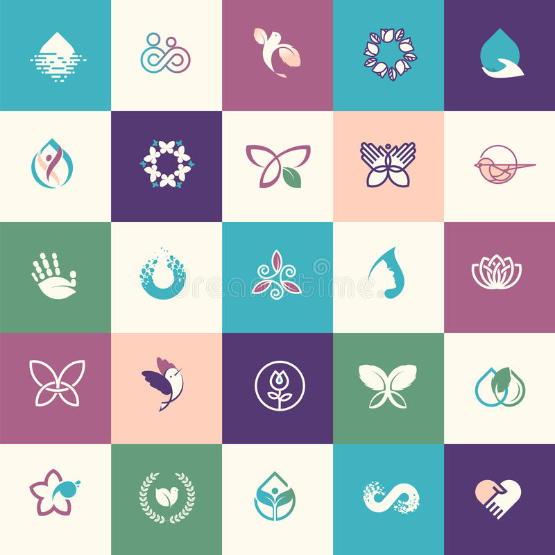 Grupo de ícones lisos da beleza e dos cuidados médicos do projeto ilustração stock