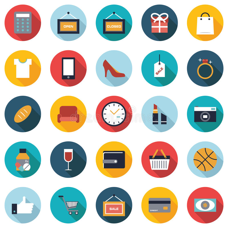 Grupo de 25 ícones lisos da compra colorida ilustração stock