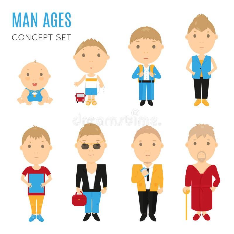Grupo de ícones lisos da idade ocasional do homem ilustração do vetor