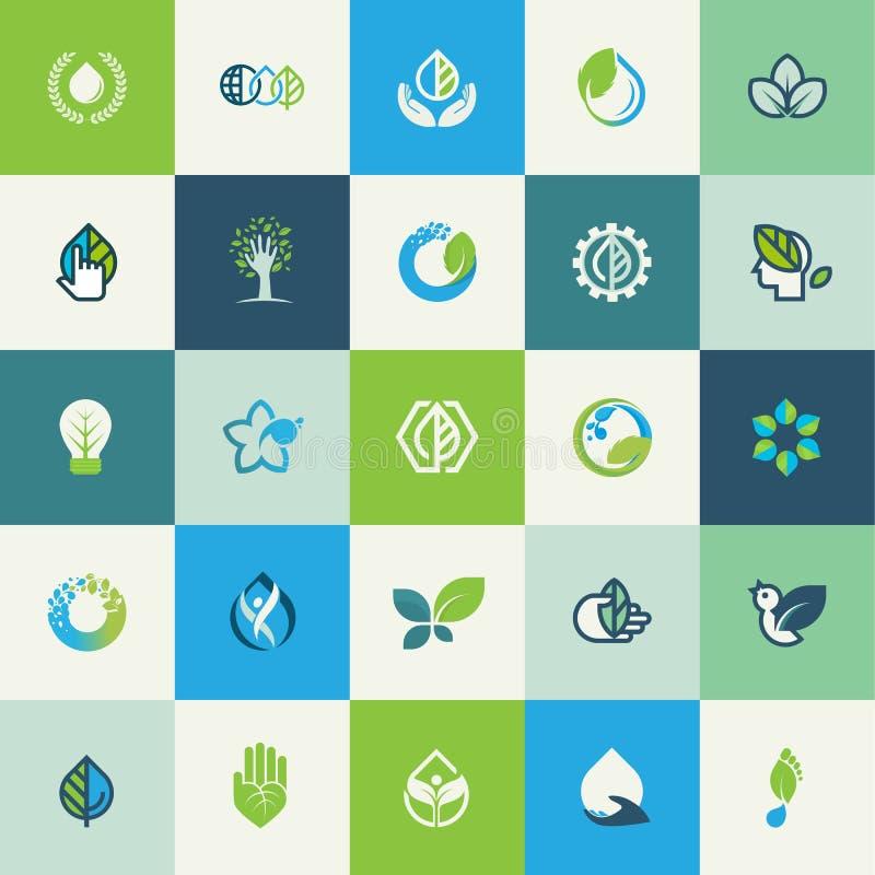 Grupo de ícones lisos da natureza do projeto ilustração stock