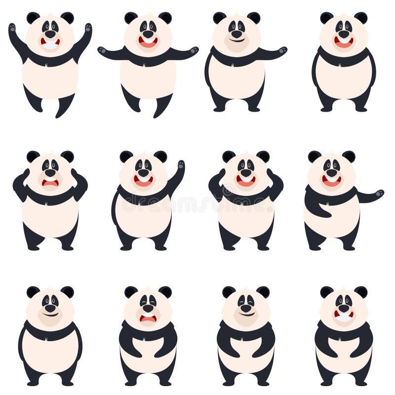Grupo de ícones lisos da panda ilustração do vetor