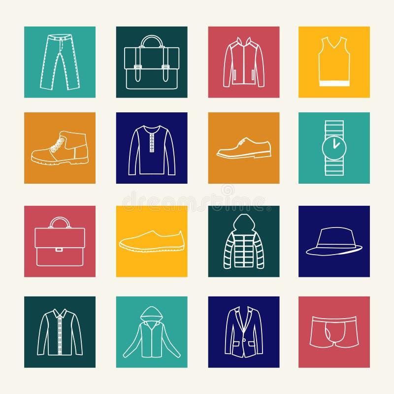 Grupo de ícones lisos da roupa do homem ilustração stock