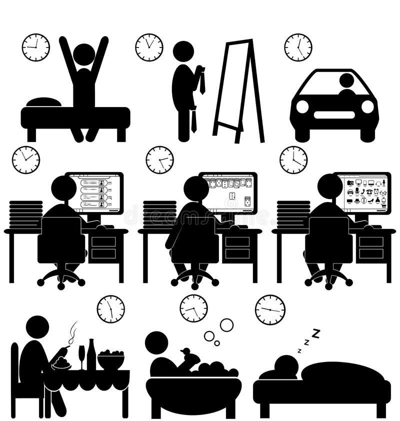 Grupo de ícones lisos da situação com o trabalhador preguiçoso isolado no branco ilustração royalty free