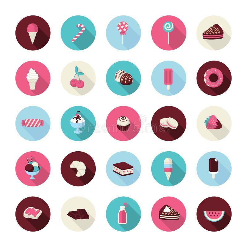 Grupo de ícones lisos da sobremesa do projeto ilustração royalty free