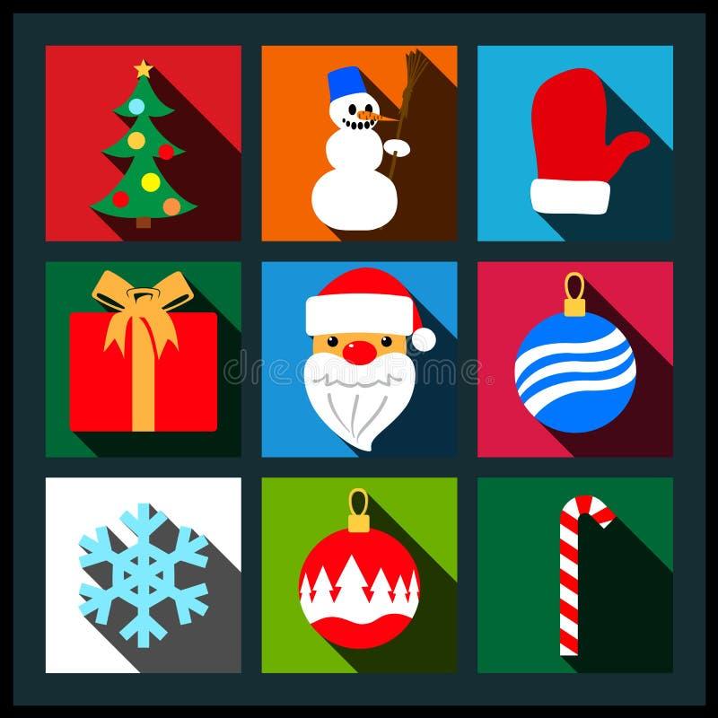 Grupo de ícones lisos da sombra longa do Natal ilustração royalty free
