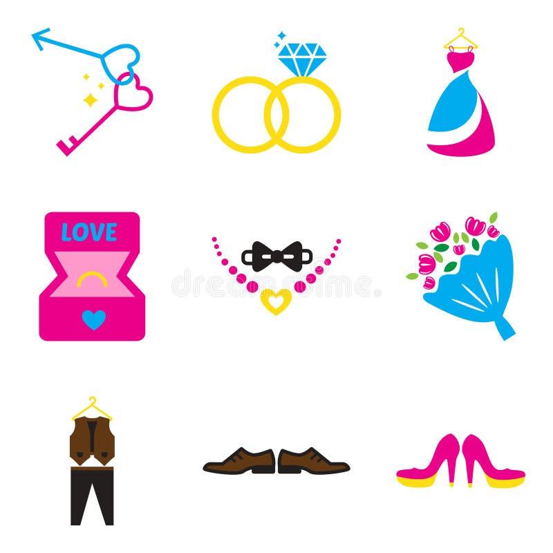 Grupo de ícones lisos da Web no casamento branco do fundo ilustração royalty free