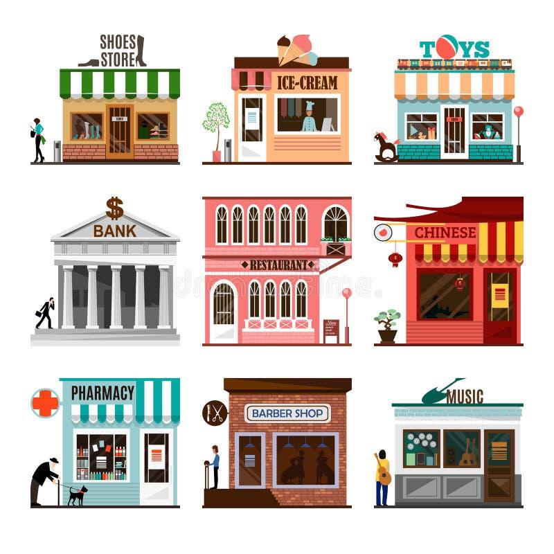 Grupo de ícones lisos das fachadas da construção de loja do vetor ilustração do vetor