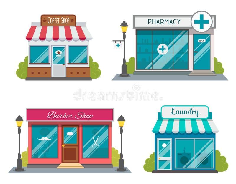 Grupo de ícones lisos das fachadas da construção de loja Ilustração do vetor para o projeto local da casa da loja do mercado Cons ilustração do vetor