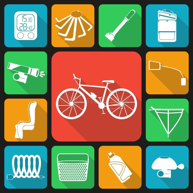 Grupo de ícones lisos de acessórios da bicicleta ilustração stock