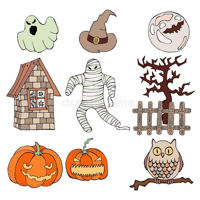 Grupo de ícones lisos de Dia das Bruxas do projeto ilustração royalty free