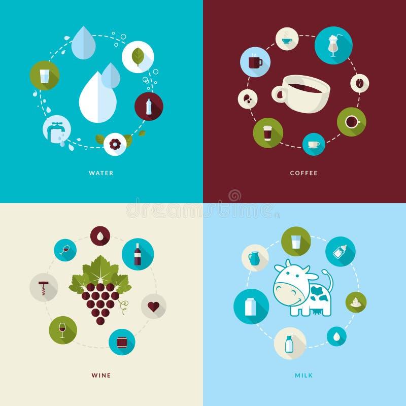 Grupo de ícones lisos do conceito de projeto para bebidas ilustração royalty free