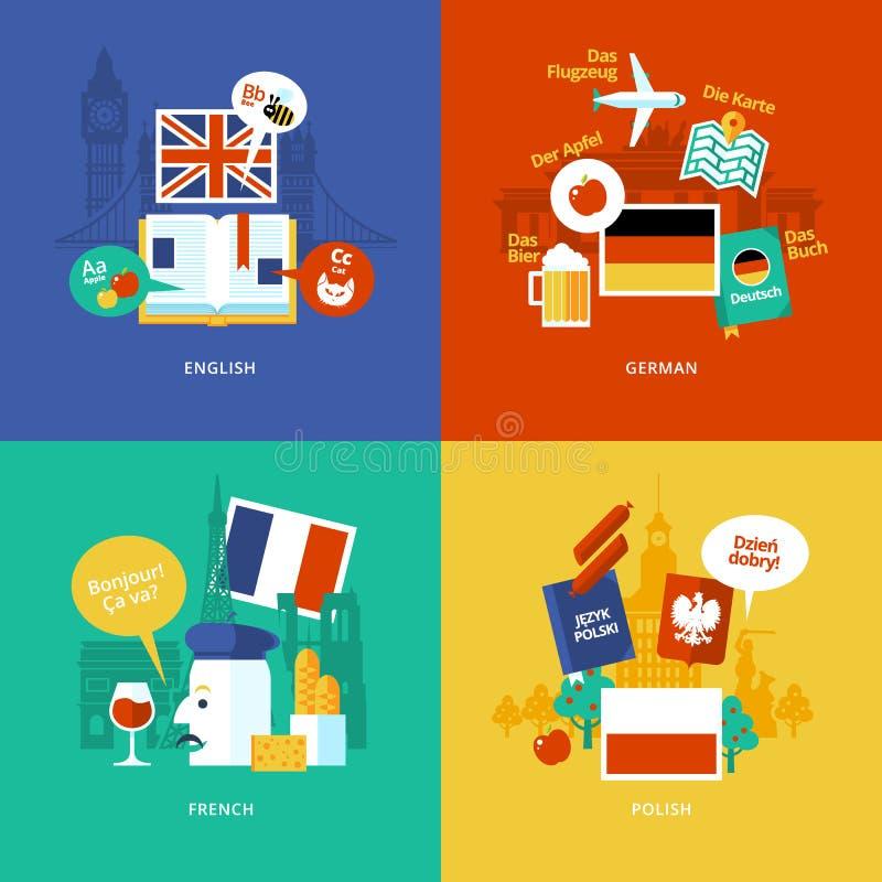 Grupo de ícones lisos do conceito de projeto para línguas estrangeiras ilustração stock