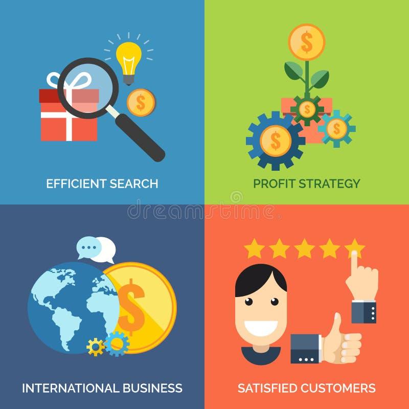 Grupo de ícones lisos do conceito de projeto para o negócio ilustração royalty free