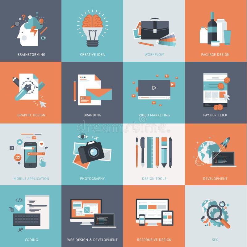 Grupo de ícones lisos do conceito de projeto para o Web site e o desenvolvimento do app, projeto gráfico, marcando, seo ilustração royalty free