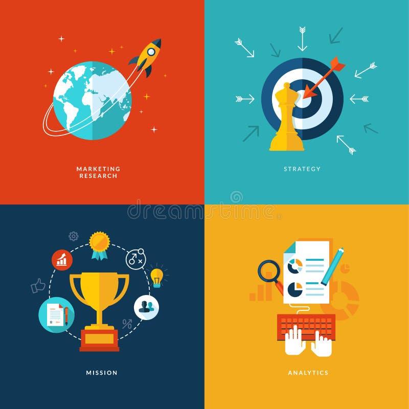 Grupo de ícones lisos do conceito de projeto para serviços da Web e de telefone celular e apps ilustração do vetor