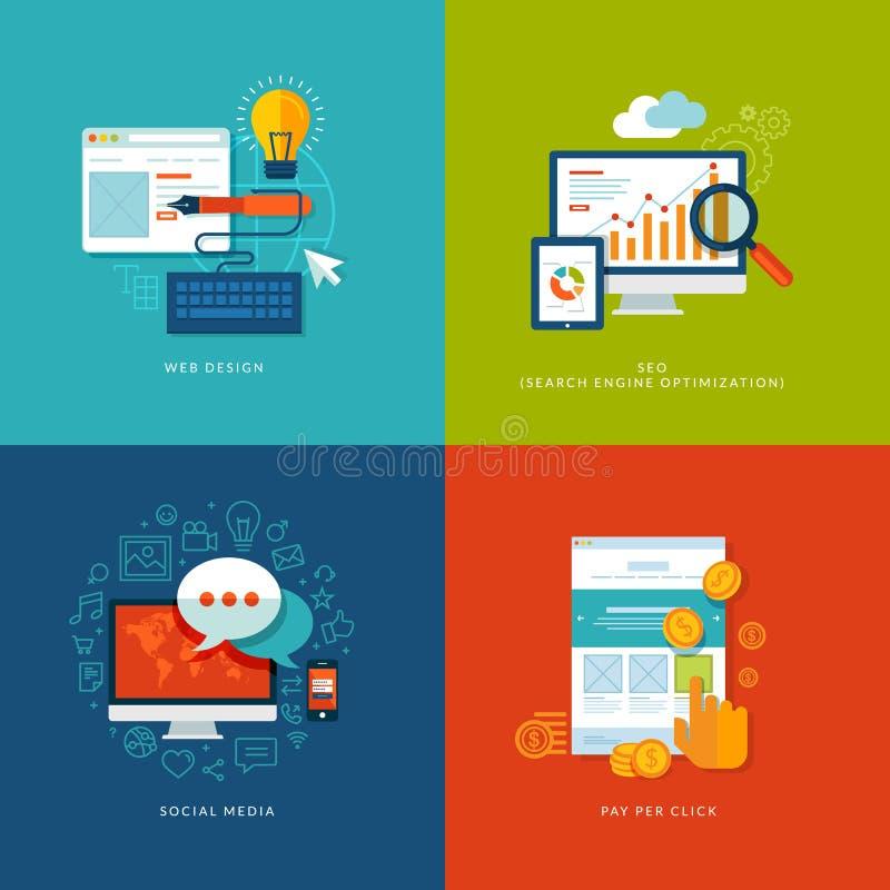 Grupo de ícones lisos do conceito de projeto para a Web e o mobil