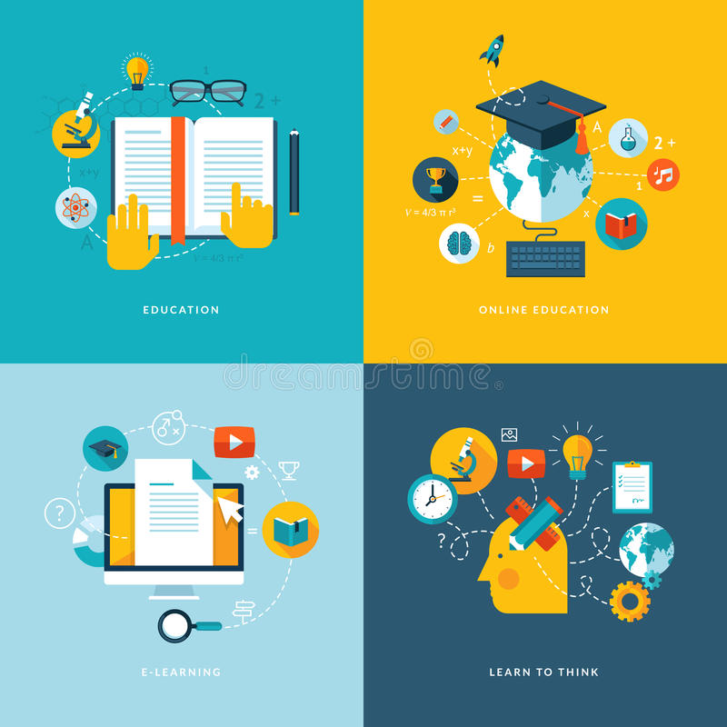 Grupo de ícones lisos do conceito para a educação ilustração royalty free