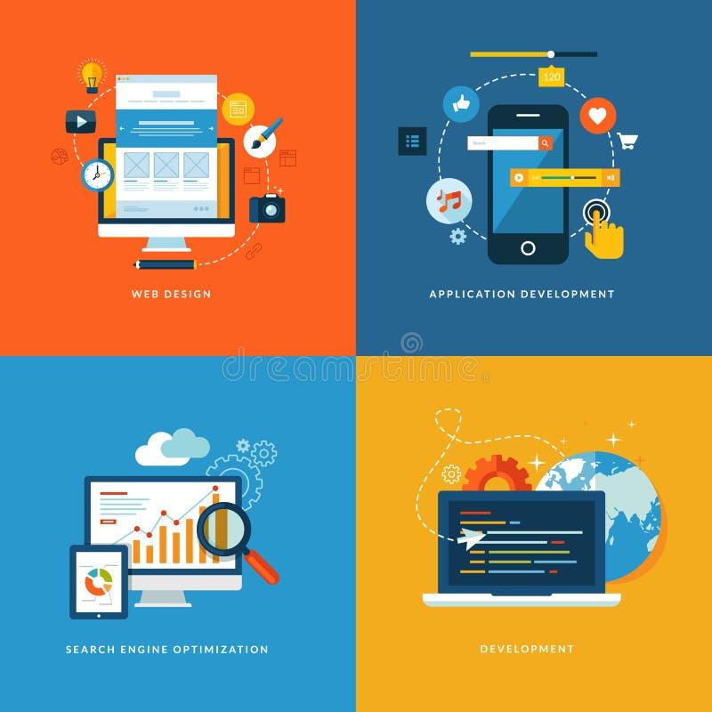 Grupo de ícones lisos do conceito para o desenvolvimento da Web ilustração royalty free
