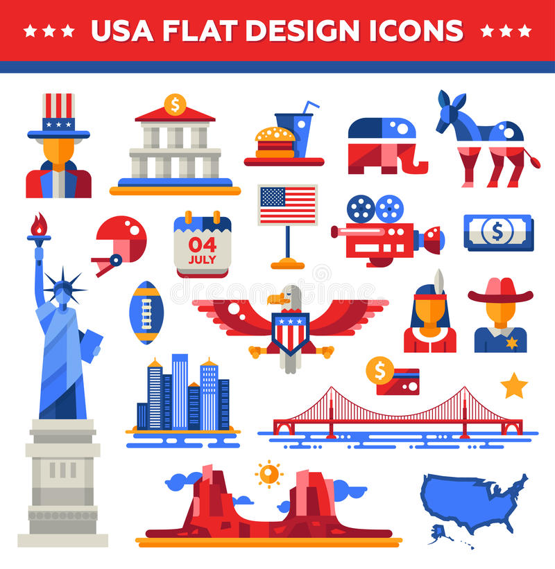 Grupo de ícones lisos do curso dos EUA do projeto, infographics ilustração royalty free