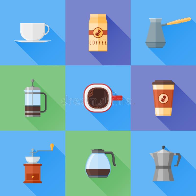 Grupo de ícones lisos do estilo do café com sombra longa Ilustração do vetor ilustração stock