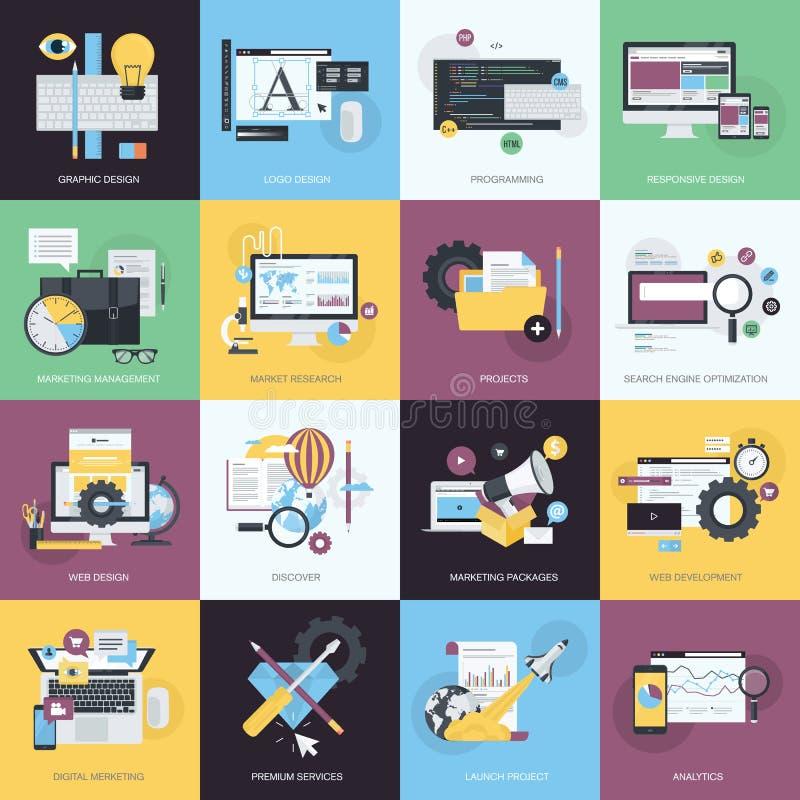 Grupo de ícones lisos do estilo do projeto para o gráfico e o design web ilustração royalty free