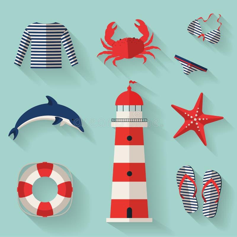 Grupo de ícones lisos do mar e da praia. Illustrati do vetor ilustração royalty free