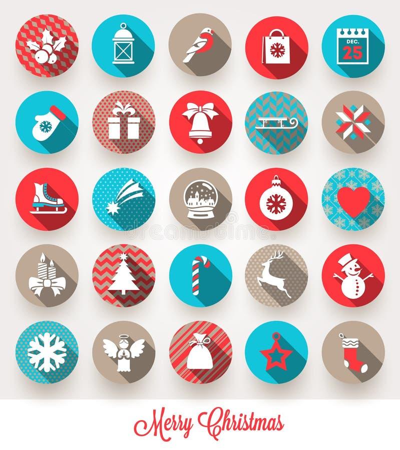 Grupo de ícones lisos do Natal ilustração stock