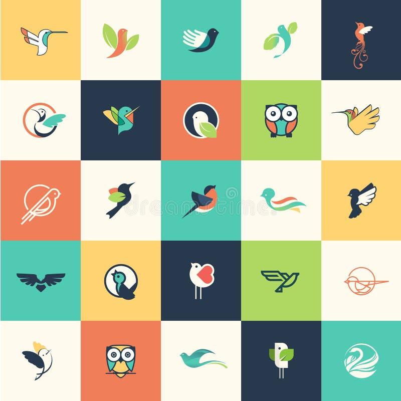 Grupo de ícones lisos do pássaro do projeto ilustração royalty free