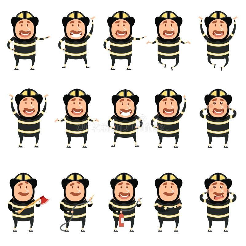 Grupo de ícones lisos do personagem de banda desenhada dos bombeiros ilustração royalty free